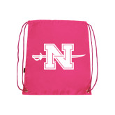 Nylon Pink Drawstring Backpack-Official Logo