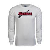 White Long Sleeve T Shirt-Nicholls Colonels-Sword