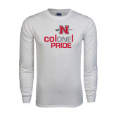 White Long Sleeve T Shirt-Colonel Pride One Pride Stacked