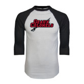 White/Black Raglan Baseball T-Shirt-Geaux Colonels-Sword