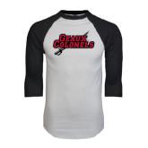 White/Black Raglan Baseball T-Shirt-Geaux Colonels-Sword