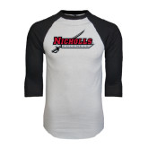 White/Black Raglan Baseball T-Shirt-Nicholls Colonels-Sword