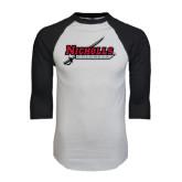 White/Black Raglan Baseball T-Shirt-Nicholls Colonels-Sword