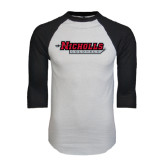 White/Black Raglan Baseball T-Shirt-Nicholls Colonels