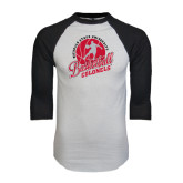 White/Black Raglan Baseball T-Shirt-Basketball w/ Ball and Figure