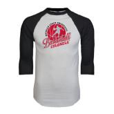 White/Black Raglan Baseball T-Shirt-Basketball w/ Ball and Figure
