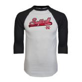 White/Black Raglan Baseball T-Shirt-Softball Script