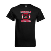 Black T Shirt-Nicholls Football Stacked w/ Ball