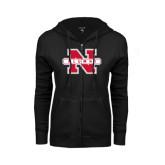 ENZA Ladies Black Fleece Full Zip Hoodie-Alumni N