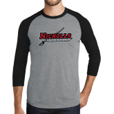 Grey/Black Tri Blend Baseball Raglan-Nicholls Colonels-Sword