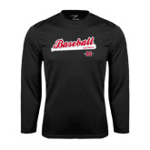 Performance Black Longsleeve Shirt-Baseball Script
