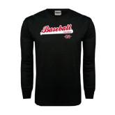 Black Long Sleeve TShirt-Baseball Script