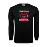 Black Long Sleeve TShirt-Nicholls Football Stacked w/ Ball