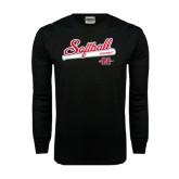 Black Long Sleeve TShirt-Softball Script