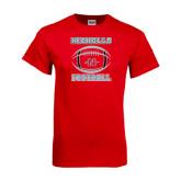 Red T Shirt-Nicholls Football Stacked w/ Ball