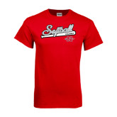 Red T Shirt-Softball Script