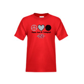 Youth Red T Shirt-Peace Love & Volleyball