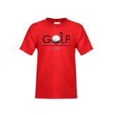 Youth Red T Shirt-Golf w/ Ball and Flag