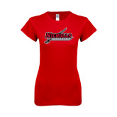 Next Level Ladies SoftStyle Junior Fitted Red Tee-Nicholls Colonels-Sword