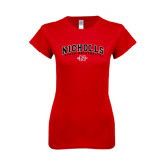 Next Level Ladies SoftStyle Junior Fitted Red Tee-Nicholls University