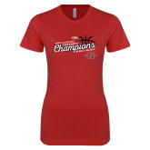 Next Level Ladies SoftStyle Junior Fitted Red Tee-2018 Womens Basketball Champions