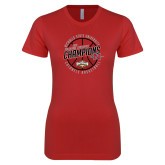 Next Level Ladies SoftStyle Junior Fitted Red Tee-2018 Mens Basketball Champions