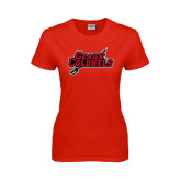 Ladies Red T Shirt-Geaux Colonels-Sword