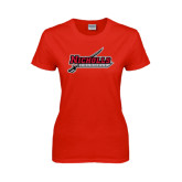Ladies Red T Shirt-Nicholls Colonels-Sword