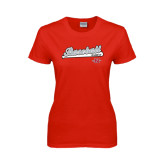 Ladies Red T Shirt-Baseball Script