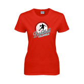Ladies Red T Shirt-Basketball w/ Ball and Figure