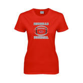 Ladies Red T Shirt-Nicholls Football Stacked w/ Ball