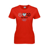 Ladies Red T Shirt-Soccer Just Kick It