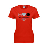 Ladies Red T Shirt-Peace Love & Volleyball