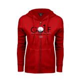 ENZA Ladies Red Fleece Full Zip Hoodie-Golf w/ Ball and Flag