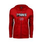 Ladies Red Fleece Full Zip Hoodie-Tennis w/ Player