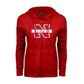 ENZA Ladies Red Fleece Full Zip Hoodie-Alumni N