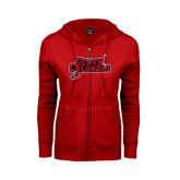 Ladies Red Fleece Full Zip Hoodie-Geaux Colonels-Sword