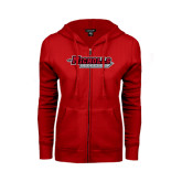 Ladies Red Fleece Full Zip Hoodie-Nicholls Colonels