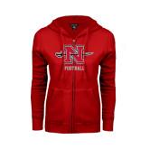 Ladies Red Fleece Full Zip Hoodie-Football