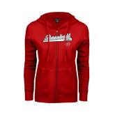 ENZA Ladies Red Fleece Full Zip Hoodie-Baseball Script
