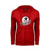 ENZA Ladies Red Fleece Full Zip Hoodie-Basketball w/ Ball and Figure
