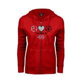 Ladies Red Fleece Full Zip Hoodie-Soccer Just Kick It