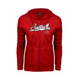 Ladies Red Fleece Full Zip Hoodie-Softball Script