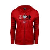 Ladies Red Fleece Full Zip Hoodie-Peace Love & Volleyball