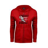 ENZA Ladies Red Fleece Full Zip Hoodie-Cross Country Winged Shoe