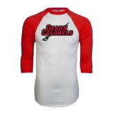 White/Red Raglan Baseball T-Shirt-Geaux Colonels-Sword