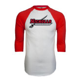 White/Red Raglan Baseball T-Shirt-Nicholls Colonels-Sword