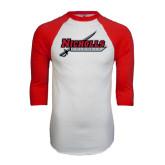 White/Red Raglan Baseball T-Shirt-Nicholls Colonels-Sword