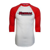 White/Red Raglan Baseball T-Shirt-Nicholls Colonels