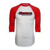 White/Red Raglan Baseball T-Shirt-Nicholls Colonels